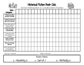 Historical Fiction Book Club Participation Tracker