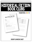 Historical Fiction Book Clubs Planning Sheet