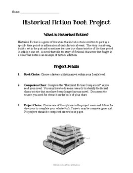 Historical Fiction Book Project