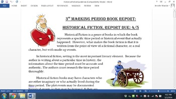 Historical Fiction Book Report- Make Your Own Scrapbook
