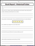 Historical Fiction Book Report Worksheet