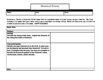 Historical Fiction Book Report and Activity Sheet