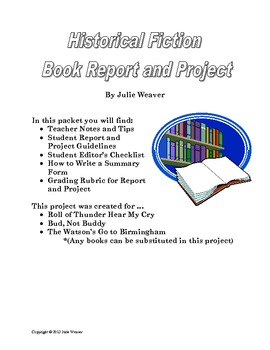 Historical Fiction Book Report and Project by Weaver's Wonders | TpT