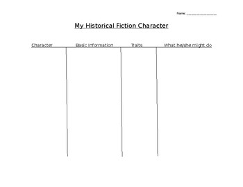 Historical Fiction Character Organizer