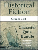 Historical Fiction Character Quiz Bundle Pack (Grades 7-12)