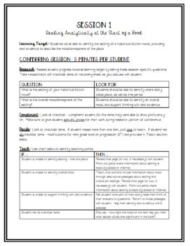 4th Grade Conferring Plans and Small Group Planner: Historical Fiction Clubs