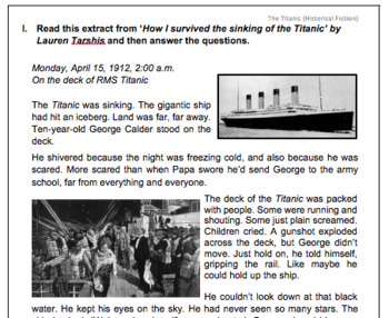 Historical Fiction (Reading Comprehension Worksheet) by Exploring ...