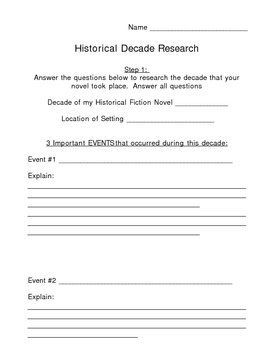 Historical Fiction - Decade Research