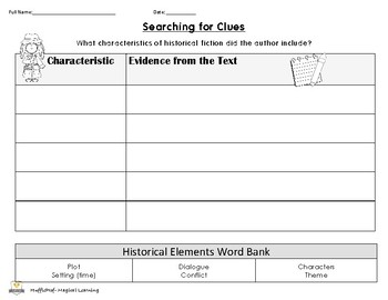 Historical Fiction Elements Graphic Organizer