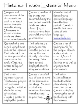 Historical Fiction Genre Extension Menu, 9 Activities for ANY Hist. Fic. Books