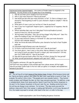 Historical Fiction Journal Prompts (for analyzing & reflecting)
