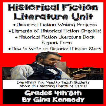 Historical Fiction Literature Unit, Writing Projects, Book Report, and More