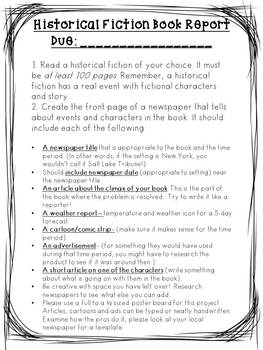 Historical Fiction Newspaper Book Report