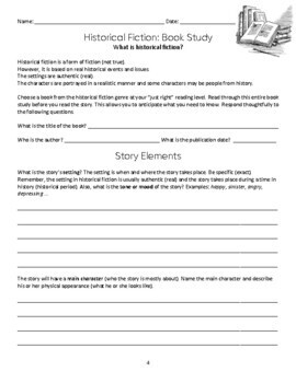 Historical Fiction Study And Book Report