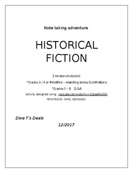 Historical Fiction Note Taking Exercises -- 2 Versions