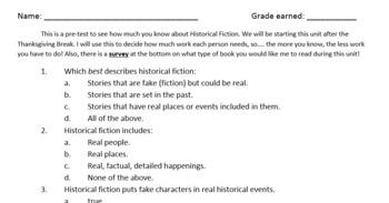 Historical Fiction Pre-Test