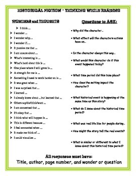 Historical Fiction Questions while Reading - Journal Prompts