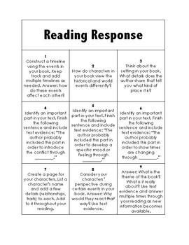 Historical Fiction Reading Response
