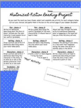 Historical Fiction Reading Response Differentiated Project
