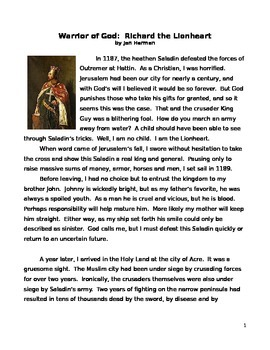 Historical Fiction Reading Richard the Lionheart and writing response