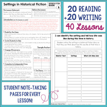 Historical Fiction Reading & Writing Unit Grade 3: 40 Detailed Lessons with CCSS