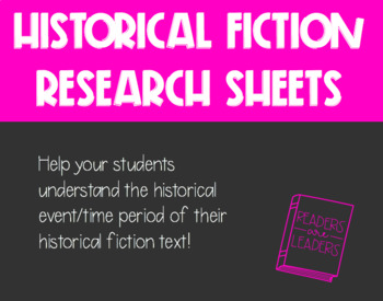 Historical Fiction Research Sheets