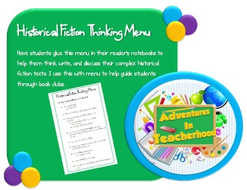 Historical Fiction Thinking Menu (Common Core Aligned)