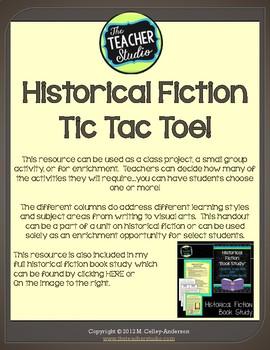 Historical Fiction Tic Tac Toe Choice Board