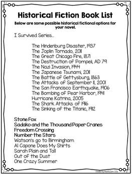 Historical Fiction Tic-Tac-Toe Choice Board for ANY Novel
