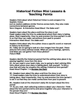 Historical Fiction Unit - Mini Lessons