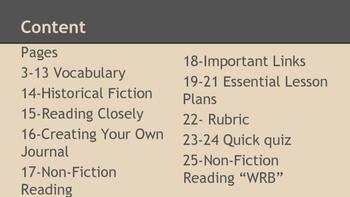 Historical Fiction Unit: Where fiction and non-fiction meet