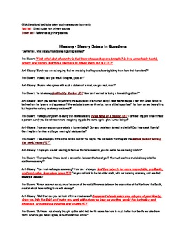 Historical Fiction Using Primary Sources - Treaty of Versailles/Slavery Debate