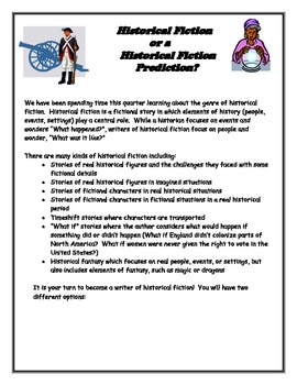 Historical Fiction or Historical Prediction Writing Project