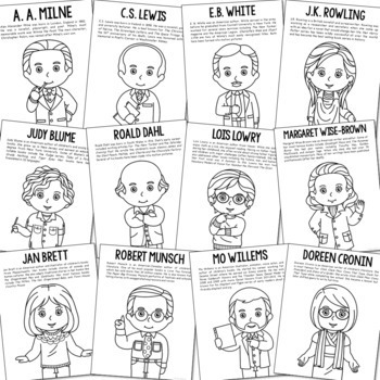 {SET OF 186} Historical Figure Biography Coloring Pages Crafts or Posters