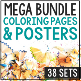 BIOGRAPHY COLORING PAGES, Bundle of 198, Easy History Craf