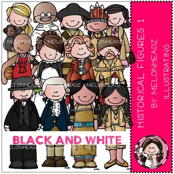 Melonheadz: Historical Figures clip art Part 1 - BLACK AND WHITE