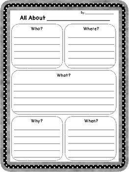 Historical Figures 5 W's Template Primary Junior