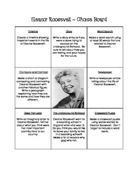 Historical Figures Choice Board - Eleanor Roosevelt