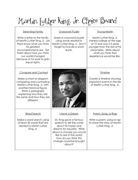 Historical Figures Choice Board - Martin Luther King, Jr.