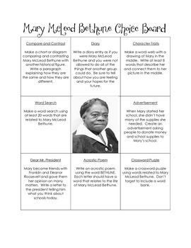 Historical Figures Choice Board - Mary McLeod Bethune