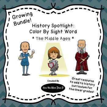 Historical Figures - Color By Sight Word - Middle Ages