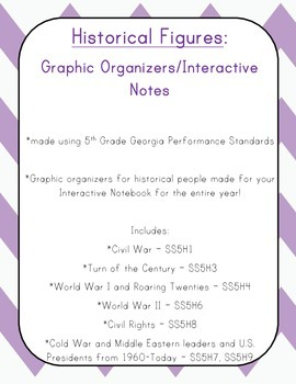 5th Grade SS Historical Figures Graphic Organizers / Interactive Notes