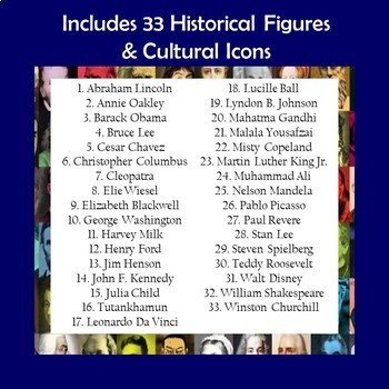 Historical Figures and Cultural Icons Biography Trifold Brochures