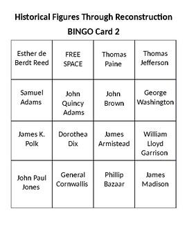 32 Bingo Cards- Historical Figures of the American Revolution
