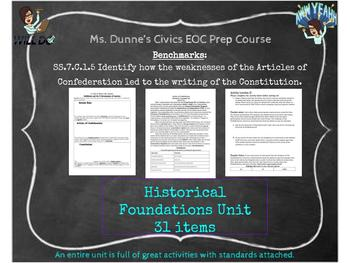 Historical Foundations to the Constitution Entire Unit- In