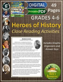 Heroes of History Close Reading Comprehension Activities - 4th grade, 5th grade