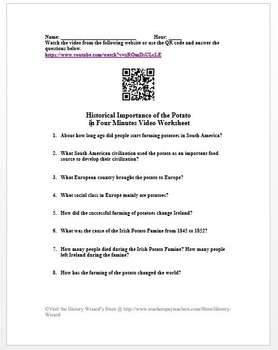 Historical Importance of the Potato in Four Minutes Video Worksheet
