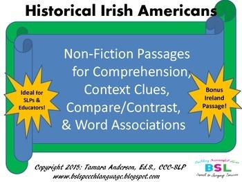 Historical Irish Americans {Speech Language Therapy & Curr