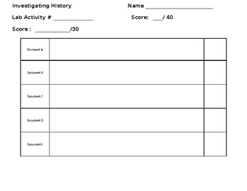 Historical Lab Activity Organizer