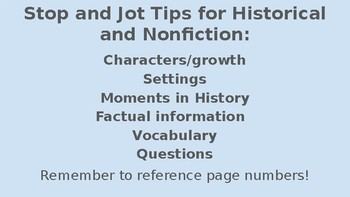 Historical/NonFiction Stop and Jots